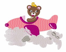 Bear In Plane embroidery design
