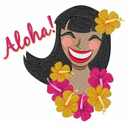 Aloha Lady embroidery design