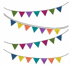 Pennant Streamers embroidery design