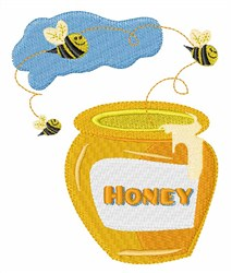 Honey Bee Pot embroidery design