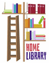 Home Library embroidery design