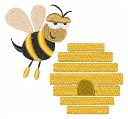 Bee & Hive embroidery design