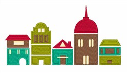 City Buildlings embroidery design