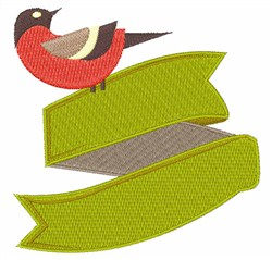 Bird On Banner embroidery design