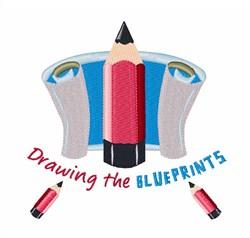Blueprints embroidery design