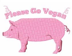 Please Go Vegan embroidery design
