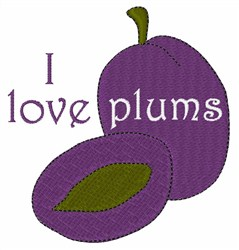 I Love Plums embroidery design