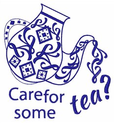 Care For Some Tea? embroidery design