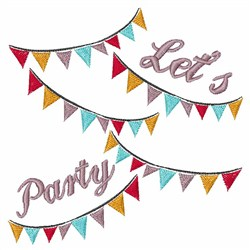 Lets Party Banner embroidery design