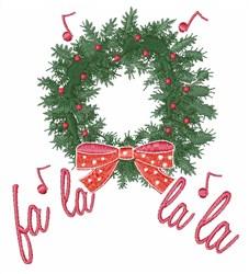 Fa La La Wreath embroidery design