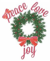 Peace Love Joy Wreath embroidery design