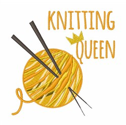 Knitting Queen Yarn embroidery design