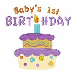 Babys 1st Birthday Cake embroidery design