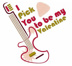Be My Valentine Guitar embroidery design