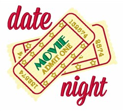 Date Night Ticket Stub embroidery design