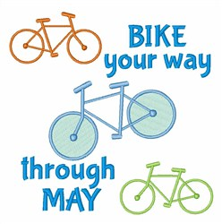 Bike Through May embroidery design