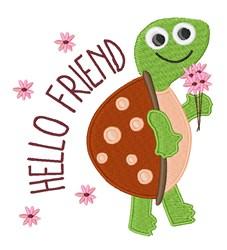 Hello Friend Turtle embroidery design