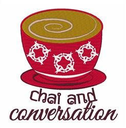 Chai & Conversation embroidery design
