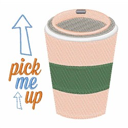 Pick Me Up Coffee embroidery design