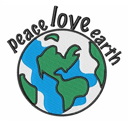 Peace Love Earth embroidery design