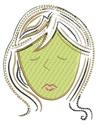 Ripple Hair Lady embroidery design