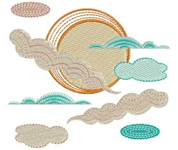 Sun & Clouds embroidery design