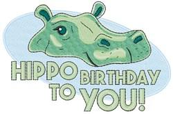 Hippo Birthday embroidery design