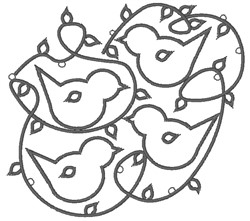 Outline Birds embroidery design