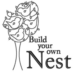 Build Your Nest embroidery design