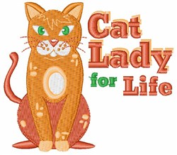 Cat Lady For Life embroidery design