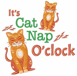 Its Cat Nap OClock embroidery design