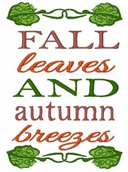 Fall Leaves And Autumn Breezes embroidery design