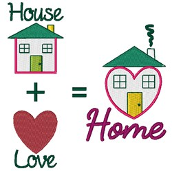House + Love = Home embroidery design