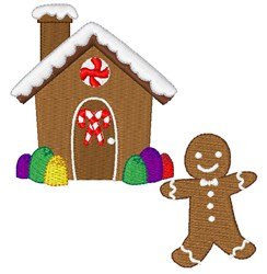 Gingerbread Man & House embroidery design
