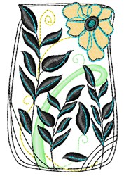 Floral Vase embroidery design