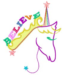 Believe In Unicorns embroidery design