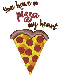 A Pizza My Heart embroidery design