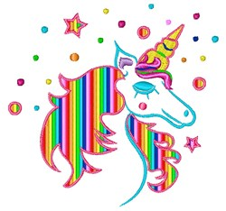 Sparkly Unicorn embroidery design