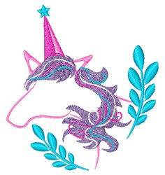 Unicorn Outline & Laurel embroidery design
