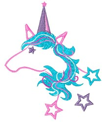 Star Studded Unicorn Outline embroidery design