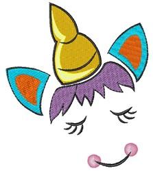 Happy Unicorn Face embroidery design