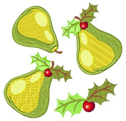 Holly  & Pears embroidery design