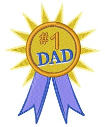 #1 Dad Ribbon embroidery design