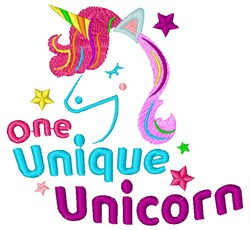One Unique Unicorn embroidery design