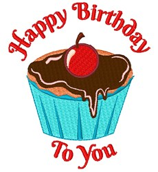 Happy Birthday Cupcake embroidery design