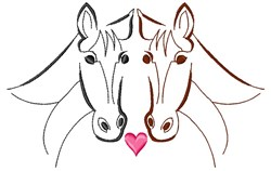 Outlined Horses embroidery design