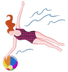 Summer Swimmer embroidery design
