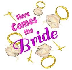 Here Comes Bride embroidery design