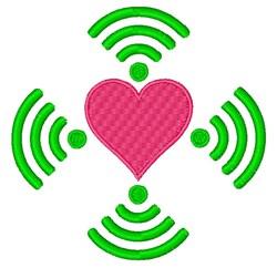 Wifi Heart embroidery design