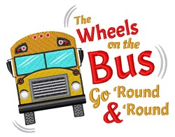 Wheels On The Bus embroidery design